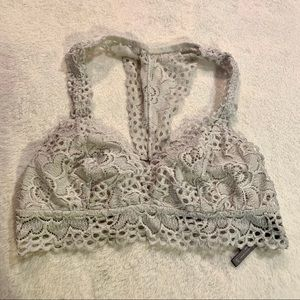 Aerie Grey Stretch Lace Bralette size small